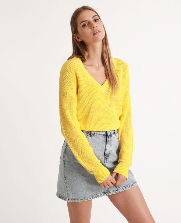 Trui met V-hals geel