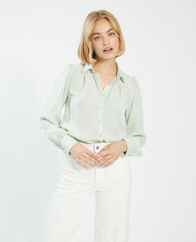 Zijdeachtige blouse met fantasieknopen groen - Pimkie