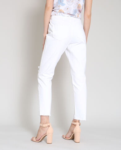 Rechte jeans met destroyed effect wit
