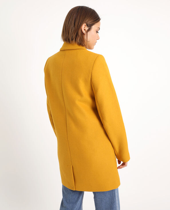 Manteau drap de laine jaune