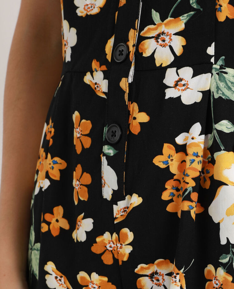 Combishort à fleurs noir