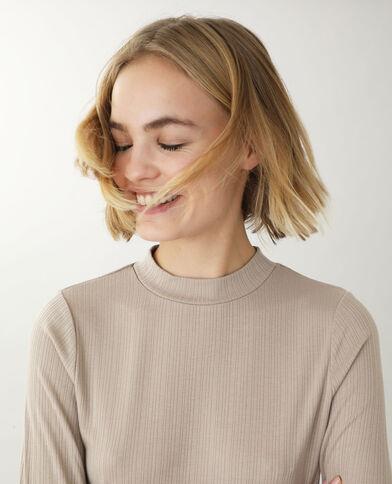 Shirt met opstaande kraag beige
