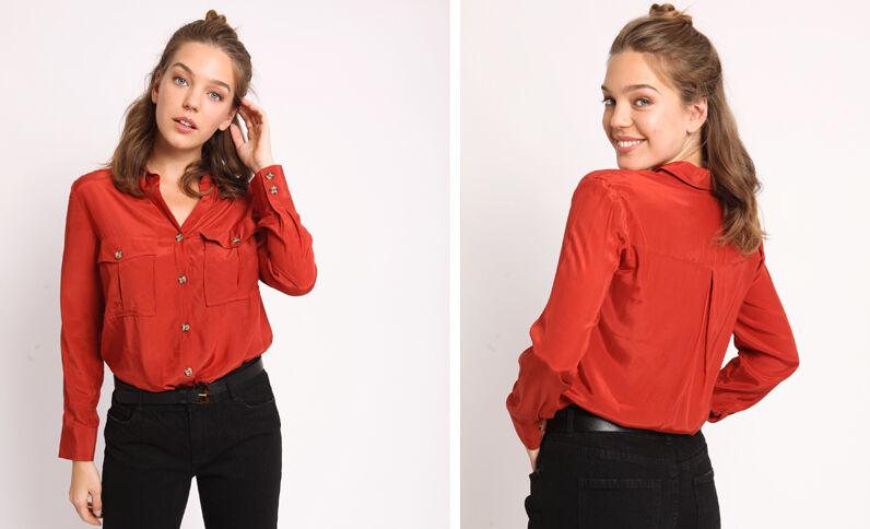 Satijnachtige blouse roestkleur