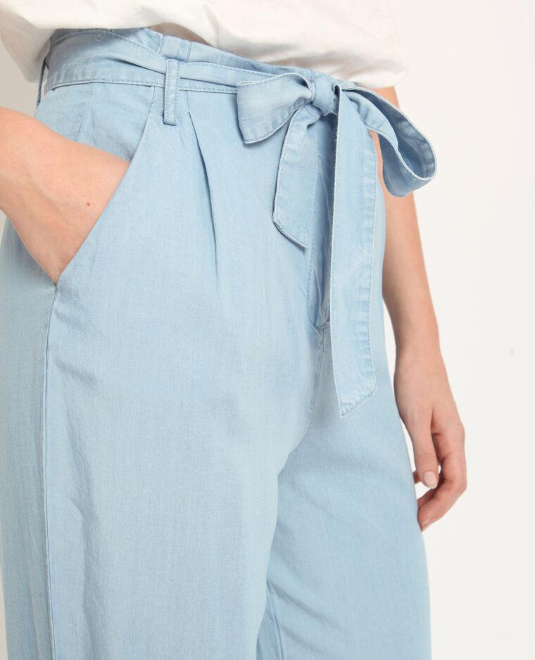Broek met brede pijpen verwassen blauw