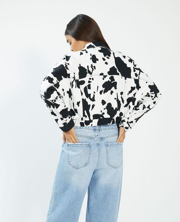 Jeansvestje met koeienmotief wit - Pimkie