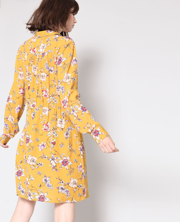 Jurk met bloemenprint geel