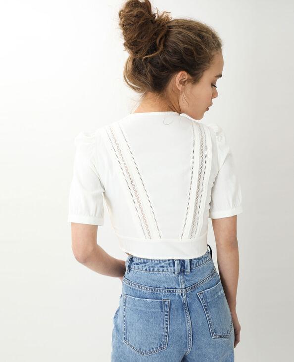 Korte vintage blouse gebroken wit - Pimkie