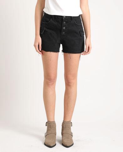 Short en jean taille haute noir