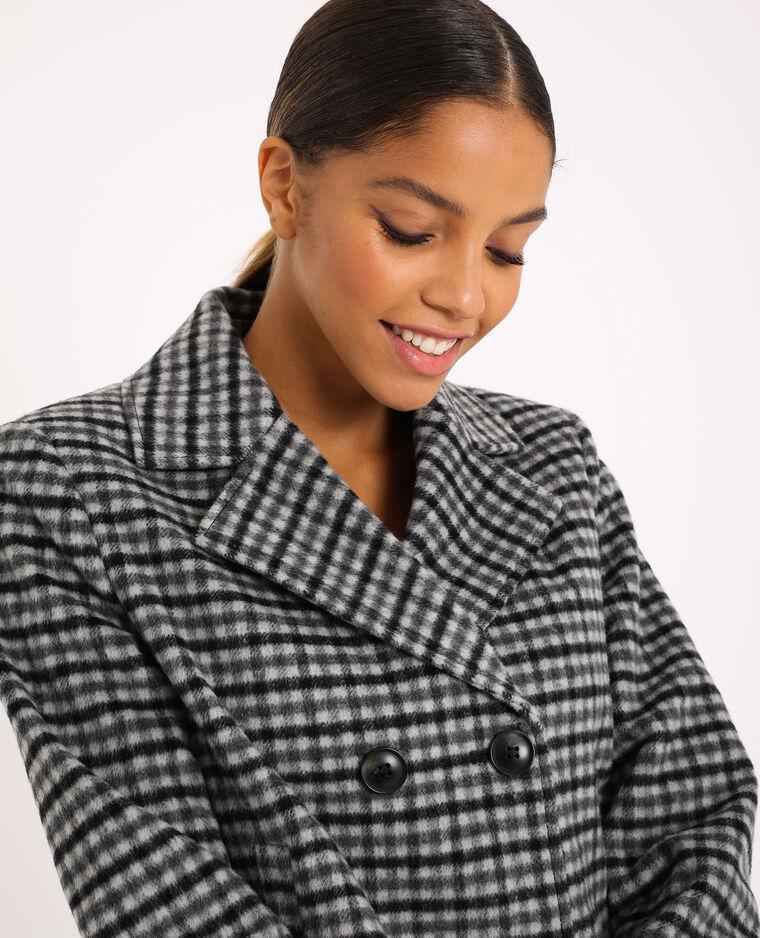 Manteau court à carreaux gris