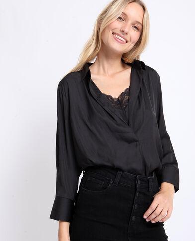 Satijnachtige blouse zwart