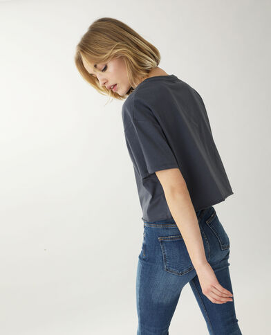 Cropped T-shirt donkergrijs