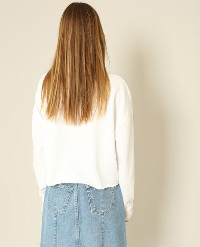 Korte sweater met opschrift ecru