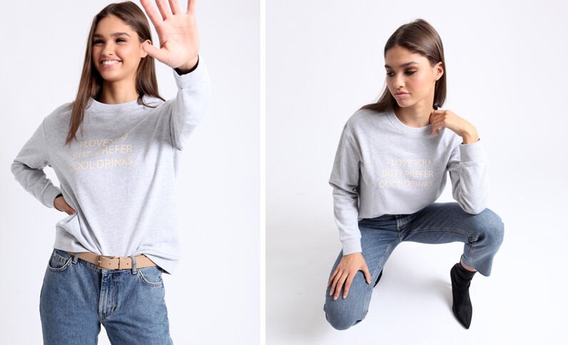 Sweater met opschrift grijs