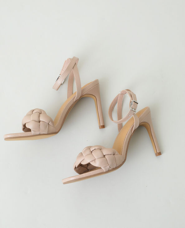 Gevlochten sandalen met naaldhak roze - Pimkie
