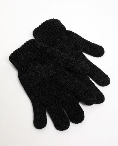 Gants maille chenille noir