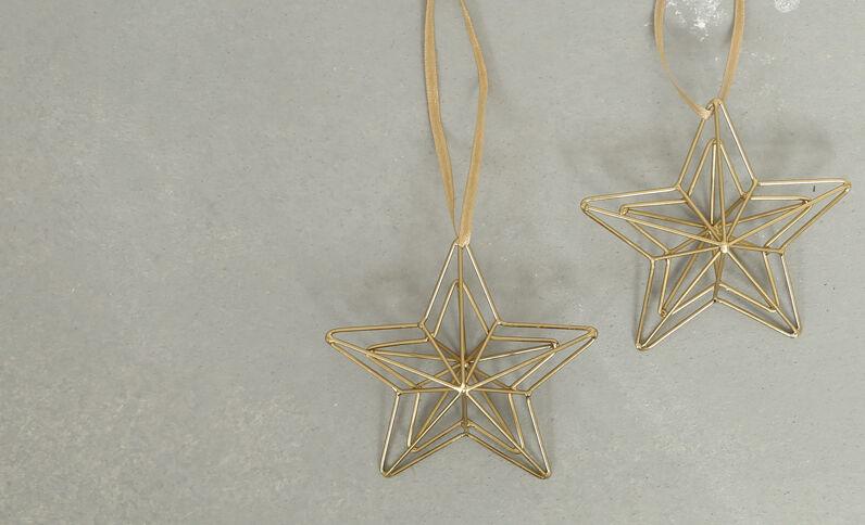 Set van 2 sterren om op te hangen goudkleurig