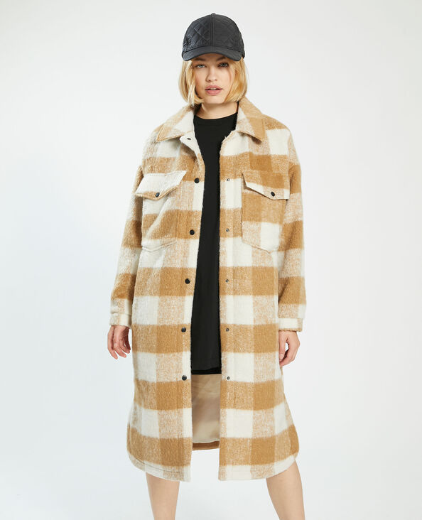 Lange oversized jas met wol kastanjebruin - Pimkie