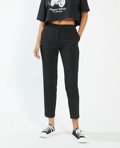 Rechte broek met figuurnaden zwart - Pimkie