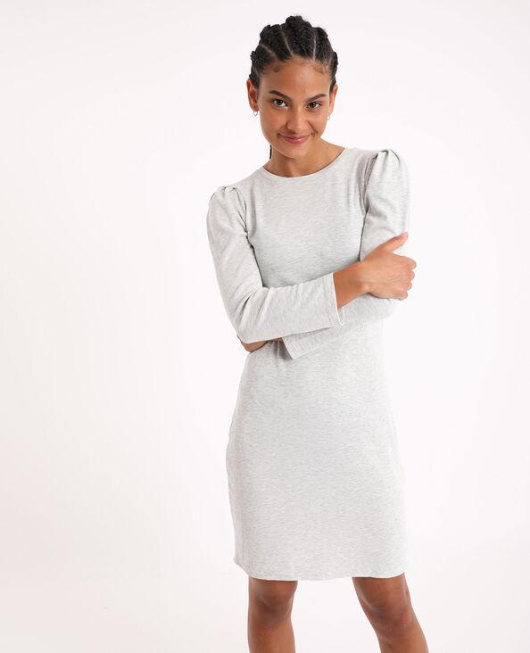 Nauwsluitende jurk met pofmouwen gemêleerd grijs