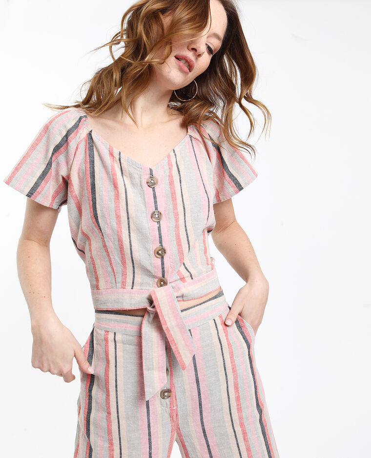 Korte blouse met strepen blauw