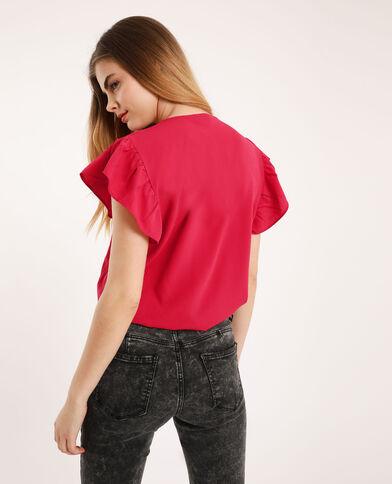 Top à manches courtes rouge