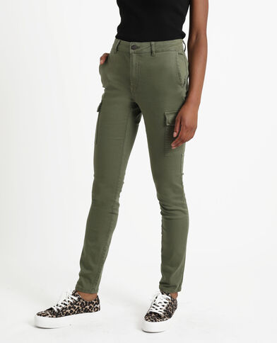 Skinny broek met zakken groen