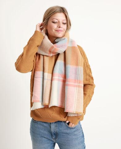 Sjaal met grote ruitjes Camel