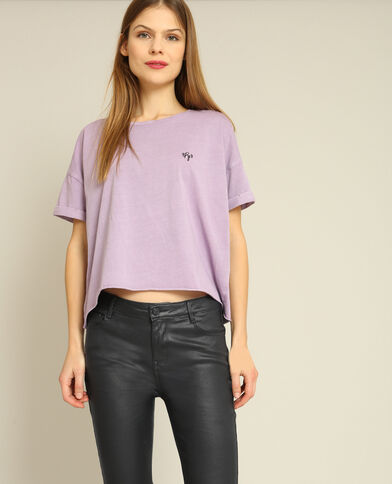 Cropped top à manches courtes lilas