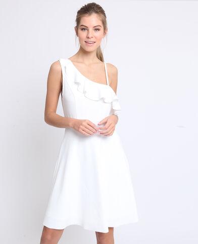 Asymmetrische jurk gebroken wit