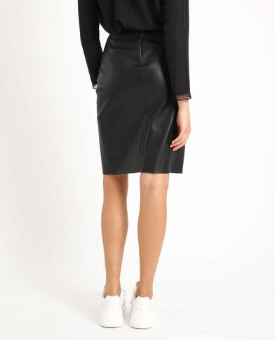 Halflange rok van kunstleer zwart
