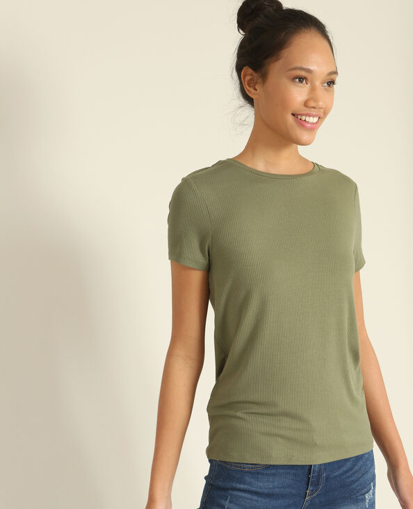 T-shirt in ribtricot groen