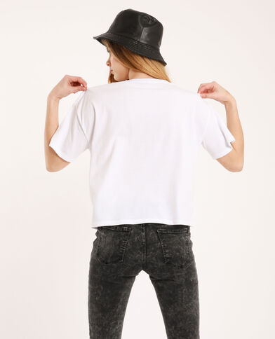 Cropped T-shirt ecru