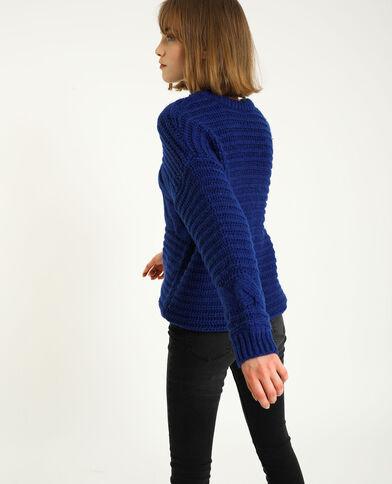 Dikke trui met kabelpatroon blauw