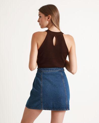 Shirt van tricot chocoladebruin