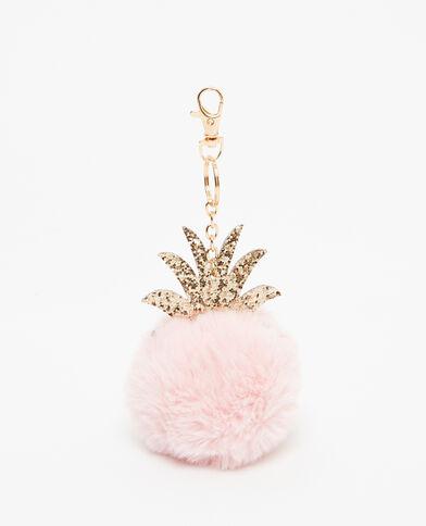 Porte-clés pompon ananas rose