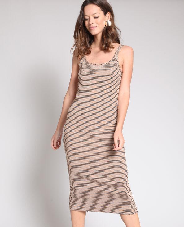 Mouwloze jurk bruin