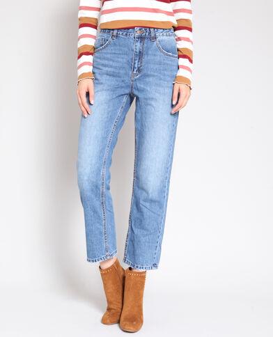 Rechte jeans met hoge taille denimblauw
