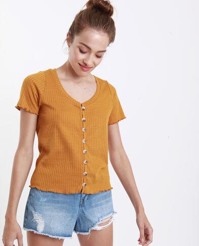 T-shirt van opengewerkt tricot geel
