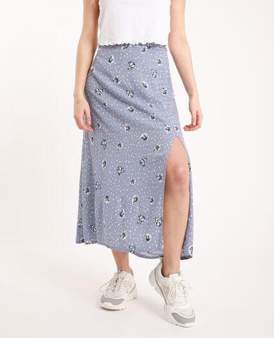 Lange rok met bloemenprint blauw
