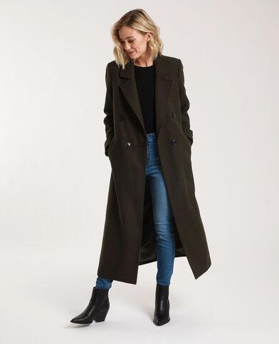 Lange jas met wolaandeel kaki