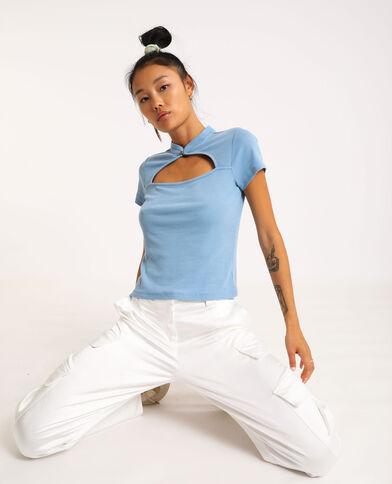 T-shirt met opening blauw