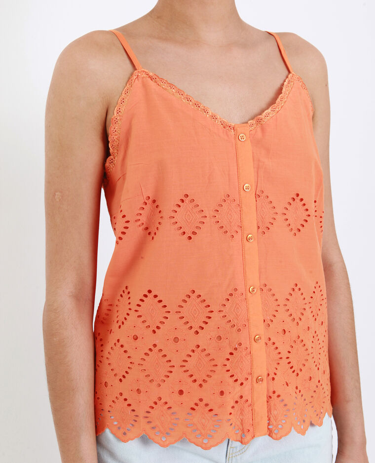 Top à broderies corail