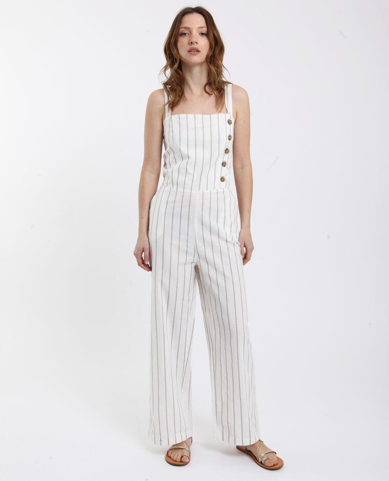 Combi-pantalon rayée beige
