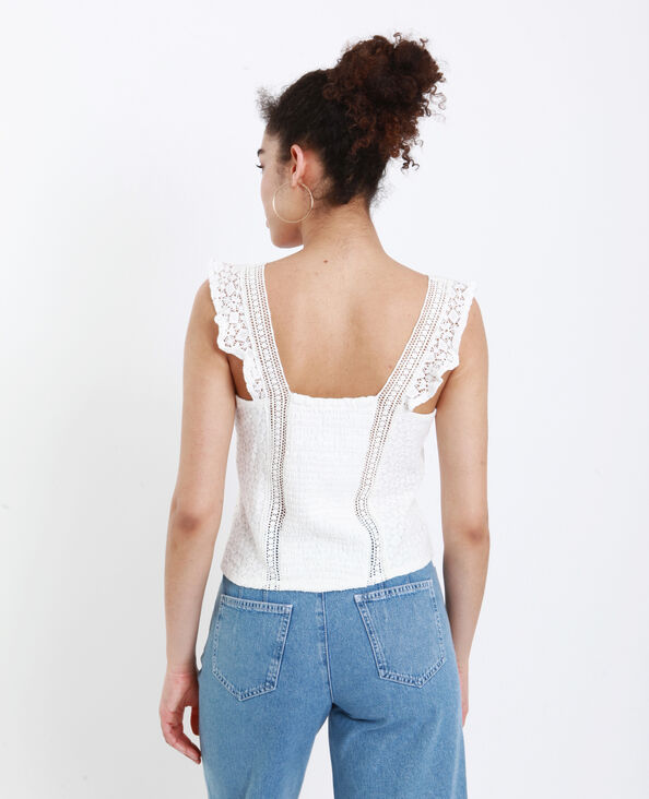 Crop top brodé blanc