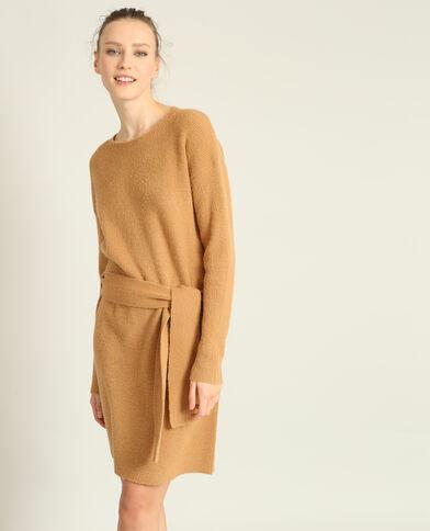Trui-jurk met riem camel
