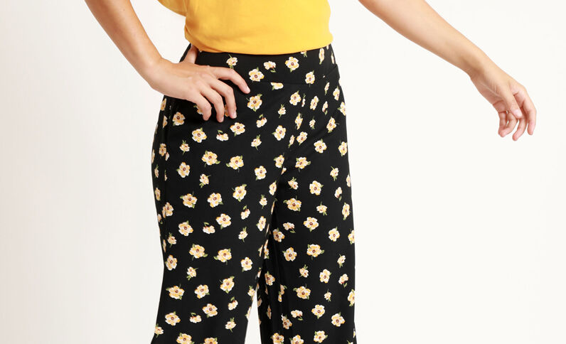 Pantalon large noir + jaune