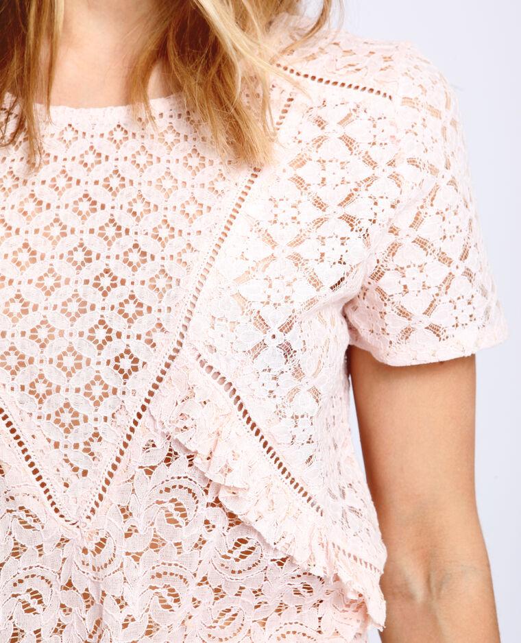 T-shirt met kant bleekroze