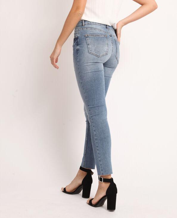 Destroyed skinny jeans denimblauw
