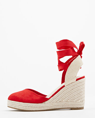 Sandales compensées rouge