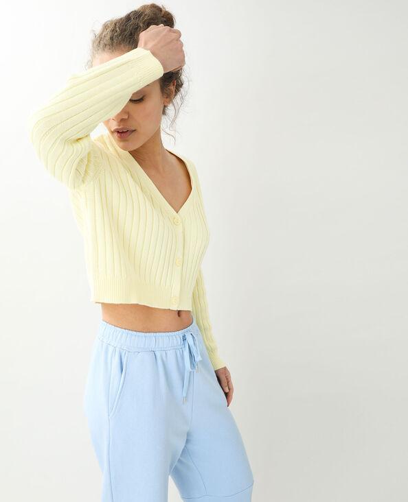 Vest van tricot met platte ribbels bleekgeel